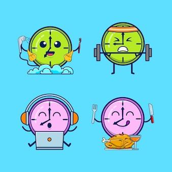 Un set di simpatici personaggi dell'orologio premium vector