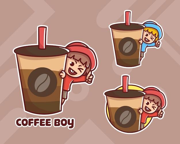 Set di logo mascotte carino ragazzo caffè con aspetto opzionale.