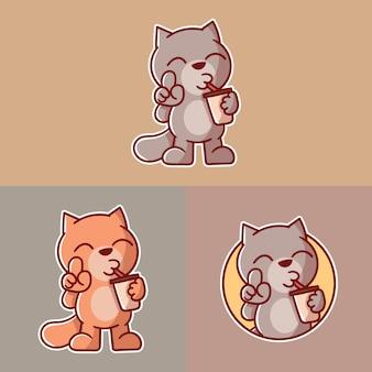 Set di simpatico logo mascotte gatto caffè