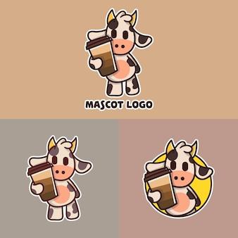 Set di logo mascotte carino mucca caffè