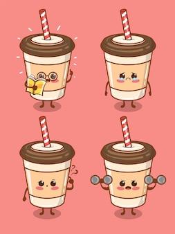 Set della tazza di caffè carino tutta l'espressione. cartone animato