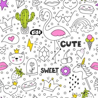 Set di disegno a mano carino e colorato doodle