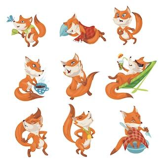 Set di simpatico personaggio di volpe colorata in diverse azioni e pose