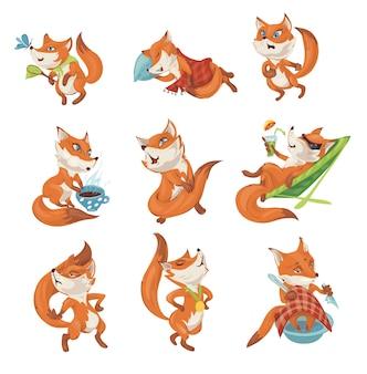 Set di simpatico personaggio di volpe colorata in diverse azioni
