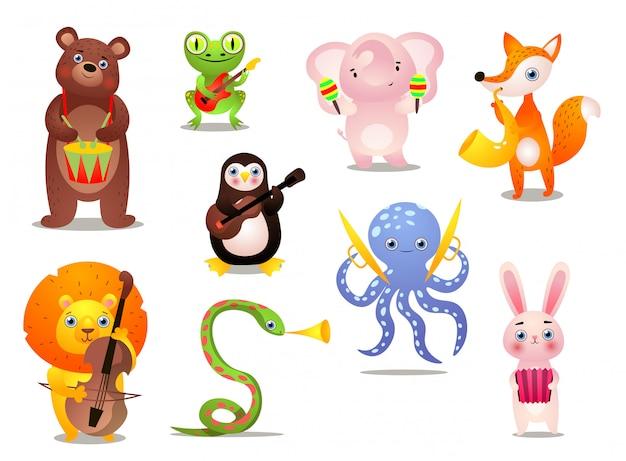 Set di simpatici animali colorati musicista con strumento diverso