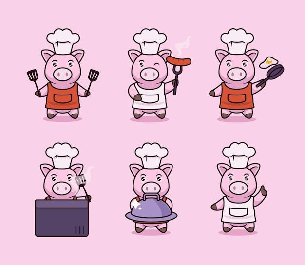 Set di simpatici disegni di mascotte di maiale da cucina