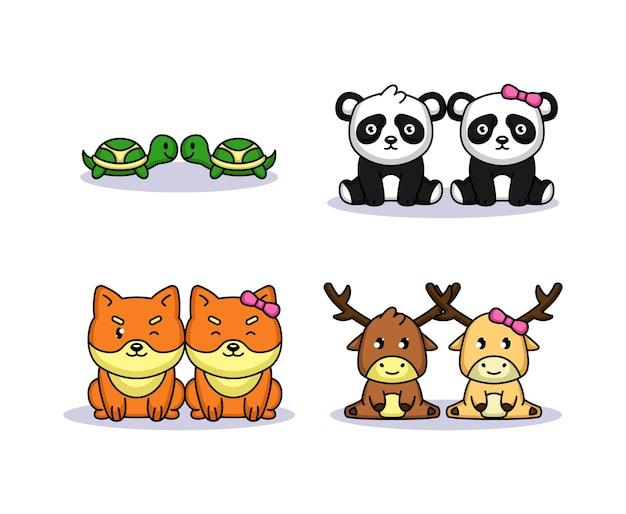 Set di simpatici animali coppia