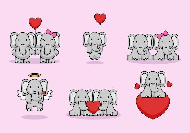 Set di coppia carina elefanti amano il giorno di san valentino