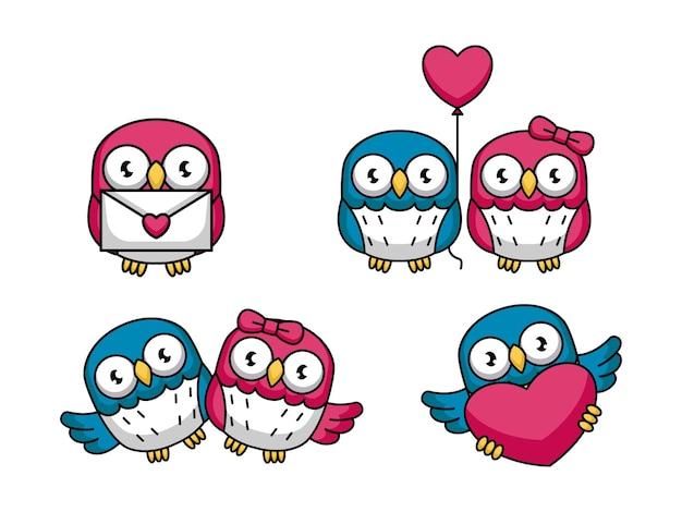 Set di coppia carina gufo amore nel giorno di san valentino