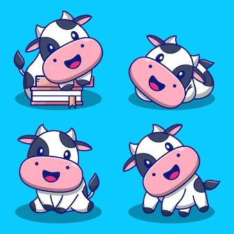 Set di illustrazioni di mucca carina