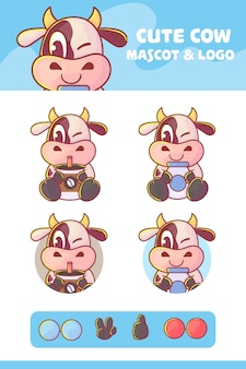 Set di simpatici personaggi di mucca, latte e caffè con apprearance opzionale. kawaii premium