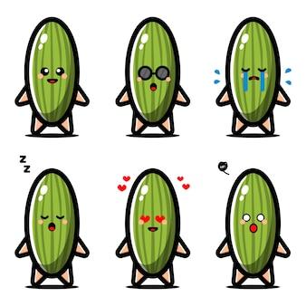 Set di cetriolo carino con personaggio dei cartoni animati di espressione