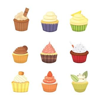 Set di simpatici cupcakes e muffin