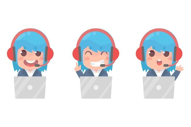 Set di un simpatico servizio clienti