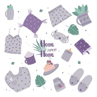 Set di graziosi elementi di arredo per una vacanza accogliente a casa. illustrazione di una pianta domestica, candela, pigiama, torta.