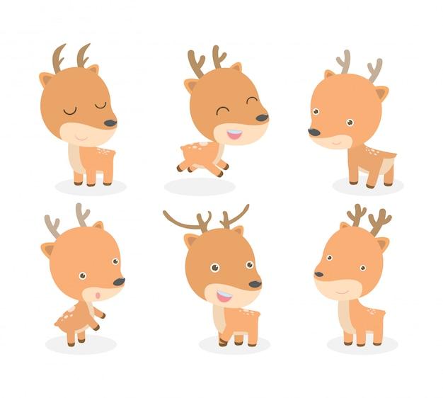 Set di simpatico cartone animato di cervo isolato su sfondo bianco. illustrazione