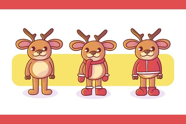 Set di simpatico logo mascotte cervo con aspetto opzionale