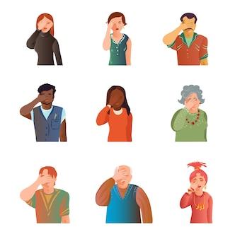 Set di facepalm di persone di età diverse carino, situazione di stress. stile cartone animato. v