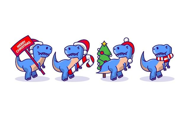 Set di simpatico dino con decorazioni natalizie