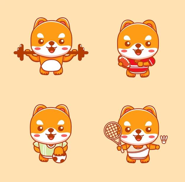 Set di simpatici cani che fanno sport come badminton, sollevamento del barbo, calcio e football americano. illustrazione del fumetto