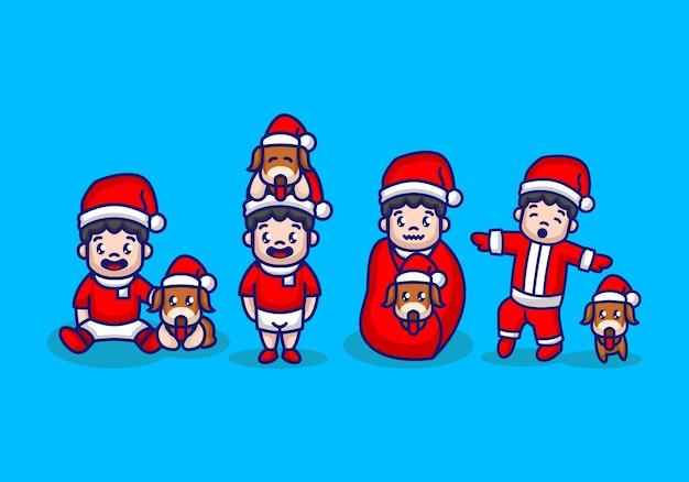 Set di simpatico cane e proprietario con costume natalizio