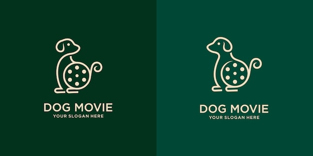 Set di cane carino con attrezzature cinematografiche. buon design del logo per move maker o cinematografia