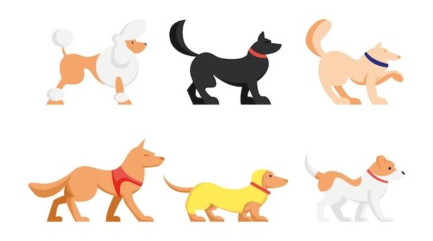 Set di simpatici cani di razze diverse isolati su sfondo bianco. cartoon illustrazione piatta