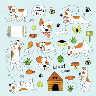 Set di simpatici cani e diversi elementi per animali domestici