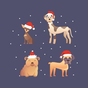 Set di simpatici cani nell'illustrazione rossa del cappello di babbo natale
