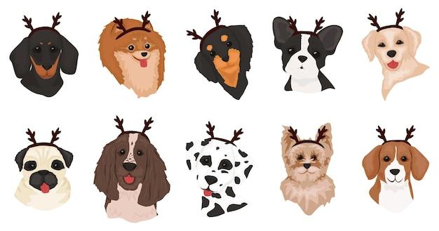 Set di simpatici cani con corna di cervo