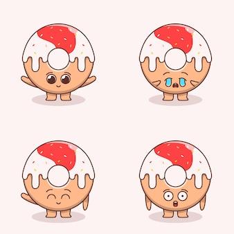 Set di simpatiche illustrazioni di ciambelle
