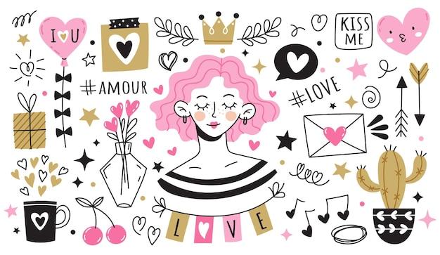 Insieme di elementi di amore carino doodle isolati su bianco