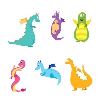 Una serie di simpatici draghi personaggi per il design dei bambini illustrazione vettoriale