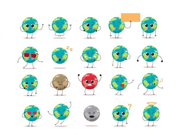 Impostare simpatici personaggi della terra con diverse emozioni cartoon mascotte globo raccolta di personaggi salvare il concetto di pianeta isolato
