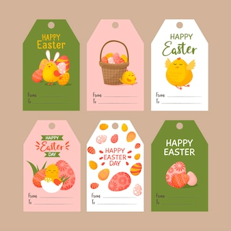 Set di simpatici tag di pasqua. collezione di etichette con coniglietto di pasqua, uova e polli.