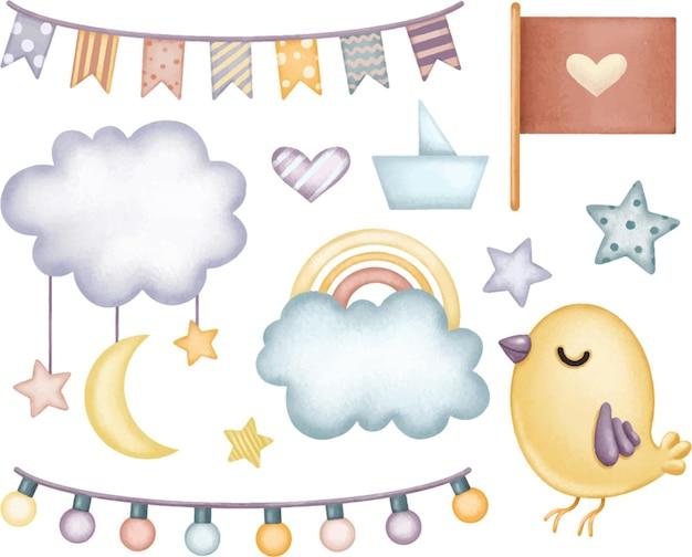 Set di elementi carini in delicate sfumature blu pastello per bandiere di nuvole arcobaleno per bambini
