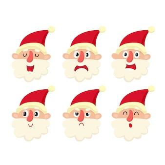 Set di simpatico babbo natale emotivo, sconvolto, arrabbiato sorpresa, sorriso, cartone animato