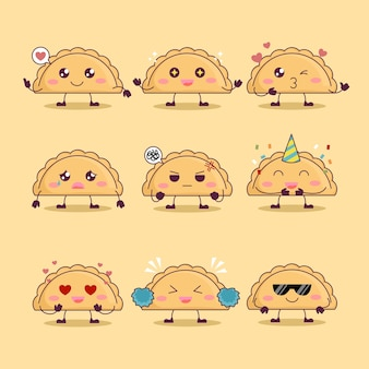 Set di simpatiche empanada pasticceria mascotte illustrazione vettoriale emoji con varie espressioni
