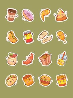 Set di simpatici personaggi dei cartoni animati di adesivo icona fast food illustrazione