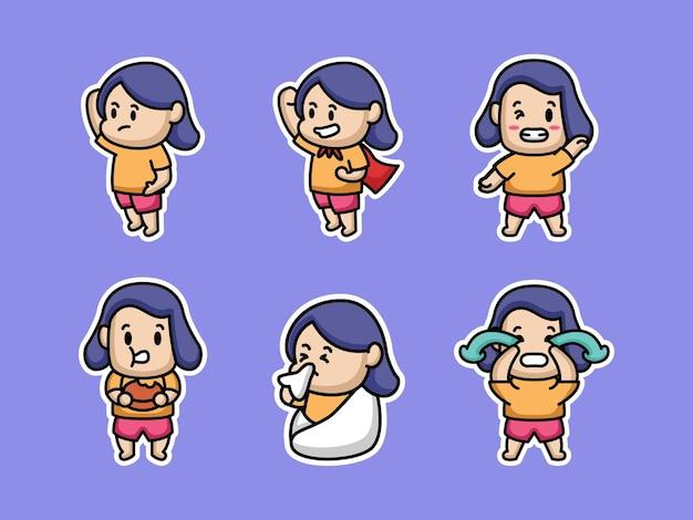 Set di disegno adesivo carino ragazza grassa
