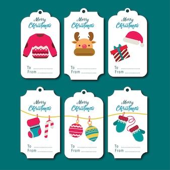 Set di simpatici tag illustrazione piatta o etichette in stile cartone animato