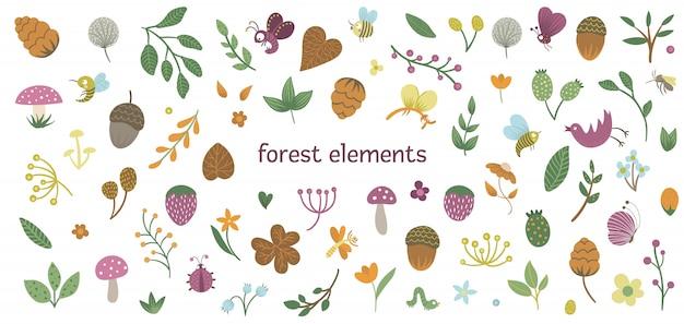 Set di simpatici insetti e piante di boschi piatti. collezione di elementi forestali. bellissimo design infantile per articoli di cartoleria, tessuti, carte da parati.