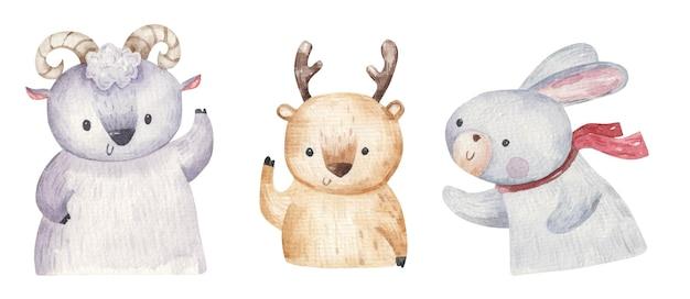Set di simpatici animali della foresta, montone, lepre e cervo, illustrazione disegnata a mano, stampa, design per bambini