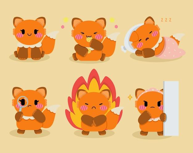 Set di illustrazione di design del personaggio di volpe carina