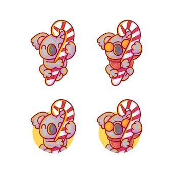 Set di volpe carina con mascotte caramelle