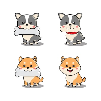 Set di simpatici bulldog francese e shiba inu in piedi e tenendo un osso in bocca