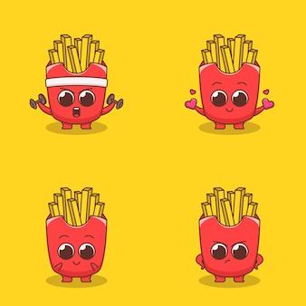 Set di simpatiche emoticon emoji con patate fritte