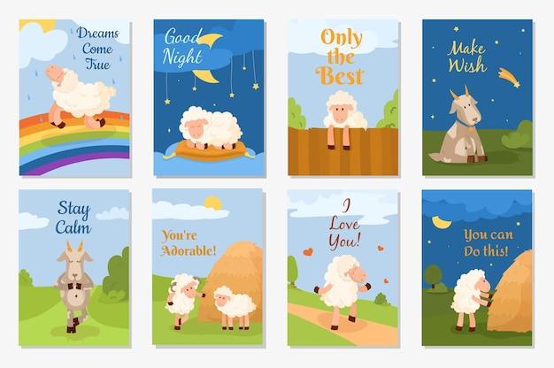 Set di simpatiche cartoline divertenti con pecore, arieti e capre