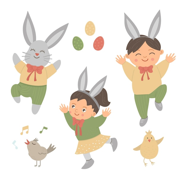 Set di simpatico coniglietto divertente e bambini felici con orecchie, uova colorate, cinguettio di uccelli e pulcino. illustrazione divertente di primavera. raccolta di elementi di design per la pasqua