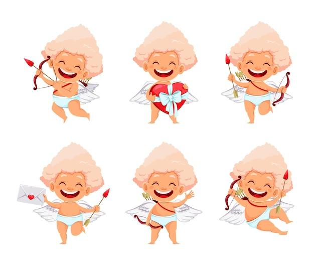 Set di carino divertente cupido angelo isolato su bianco
